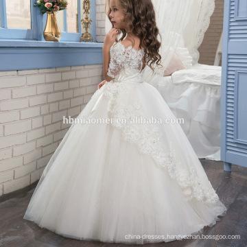2 3 4 5 6 7 Years Old Chirldren White Color Sleeve Tulle Flower Girl Dress