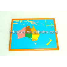 Montessori Set - Australia Puzzle Map Avec BEECHWOOD FRAME