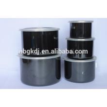 Recipiente esmaltado antiadherente negro de 5 piezas