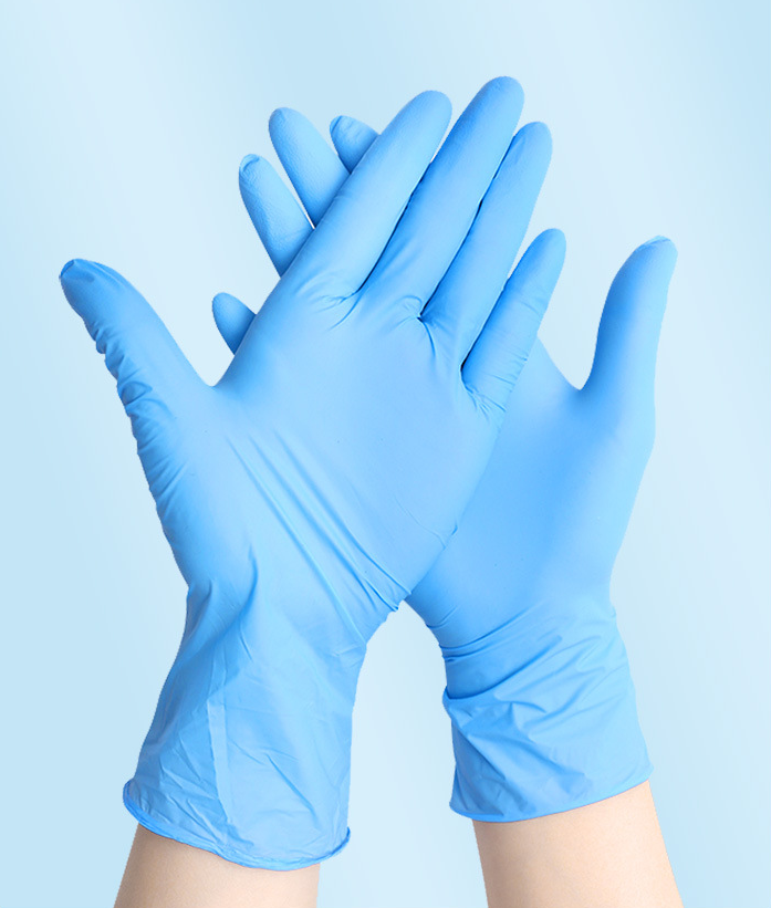 Disposable pvc gloves blue color