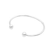 Sterling Silver Ball Ends Cuff Bracelet Mother Gift