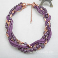 Handmade Crystal Beads Necklace Velvet String Weaved Choker