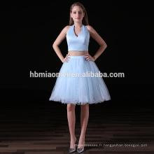 Été robe de mode 2017 élégant 2 pcs ensemble v profond cou bleu clair robes de demoiselle d'honneur pas cher pour le mariage