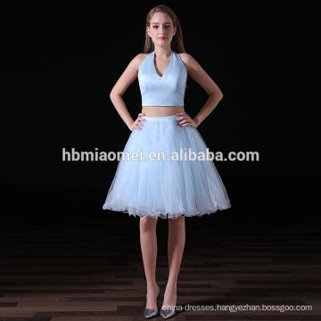 Summer fashion dress 2017 elegant 2 pcs set deep v neck light blue cheap bridesmaid dresses for wedding