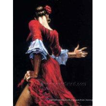 Hecho a mano moderna pared de arte figura pintura al óleo español mujer Flamenco Tango Dance Reproducción (FI-011)