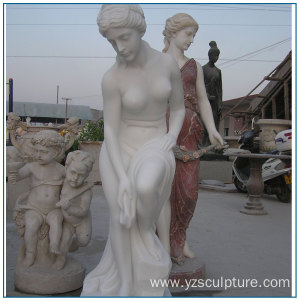 Top Quality White Marble Nude Woman Statues