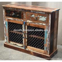 Aparador de madeira reciclado Painel Jali de ferro