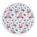 Round Terry Lightweight Version Red Flamingo Beach Towels
