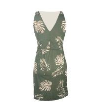 New Arrivals Summer Lady Elegant Women Sleeveless Print V-Neck Casual Dress