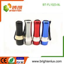 Factory Hot Sale 3 * aaa Batterie sèche Custom Made Aluminium Metal Promotionnelle 9 led Pocket Flashlight Torch