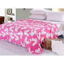 Wunderschöner bedruckter Coral Fleece Blanket Rabbit Design