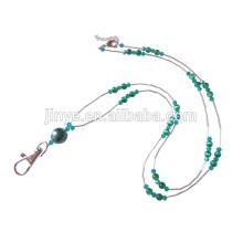 Titular de cartão de identificação artesanal Tiger Eye frisado colhedor de jóias cordão frisado