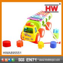 Alta calidad 27cm coche de juguete de plástico de juguete en forma de xilófono con bloque