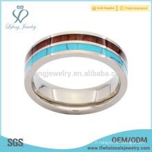 Jolies bandes à anneaux de titane à grain turquoise et bois