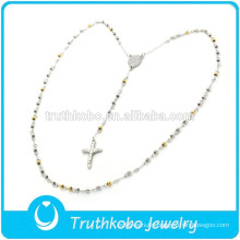 European Religious Women Lastest Design Two Tone Necklace with Crucifix Gold Silver Rosary Beads Necklace