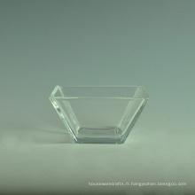 Ensembles de bol à salade en verre carré blanc transparent avec cuillère