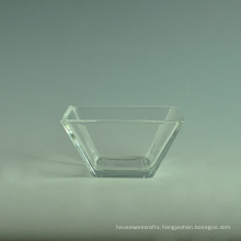 Transparent High White Square Glass Salad Bowl Sets with Spoon