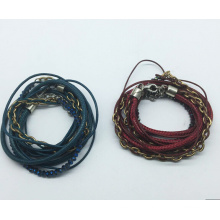 Real Leather 5 Rolls Glass Beads Tissue Bracelet (XBL13559)