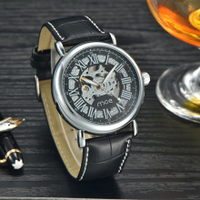 custom chain leather men hand mechanical wrist watch