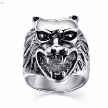 Новое прибытие нержавеющей стали для мужчин на заказ кольца с гравировкой волка