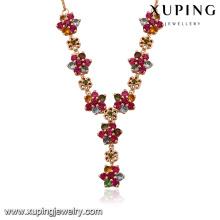 43448-Xuping femmes femelle plus récent fleur design or coloré colliers