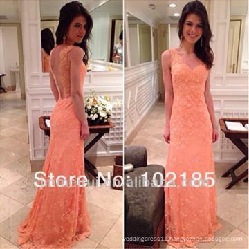 Nice Mermaid V-Neck Applique Sleeveless Lace Backless Floor-Length Dress Peach Color Bridesmaid Dress Maid Of Bride