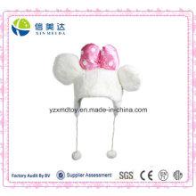 Soft Plush Cute Pink Bowknot Mouse Warm Cap