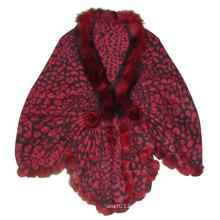 Senhora fashion borgonha lã tricotada xale de leopardo (yky4142-3)