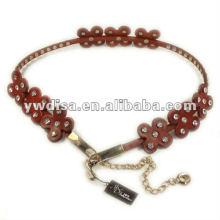 Flower Rhinestone Genuine Leather Waist Belt