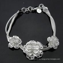 Venta al por mayor encantos de flores 925 pulsera de plata para las mujeres BSS-014