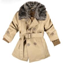Outono e inverno crianças usam roupas de algodão-acolchoado jaqueta de couro da motocicleta com gola de pele, jaqueta de couro crianças PU