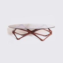 Light Luxury Wooden Frame Glass Tea table