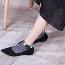2019 Hot Sale DIY personalized crew socks flower glitter socks for women