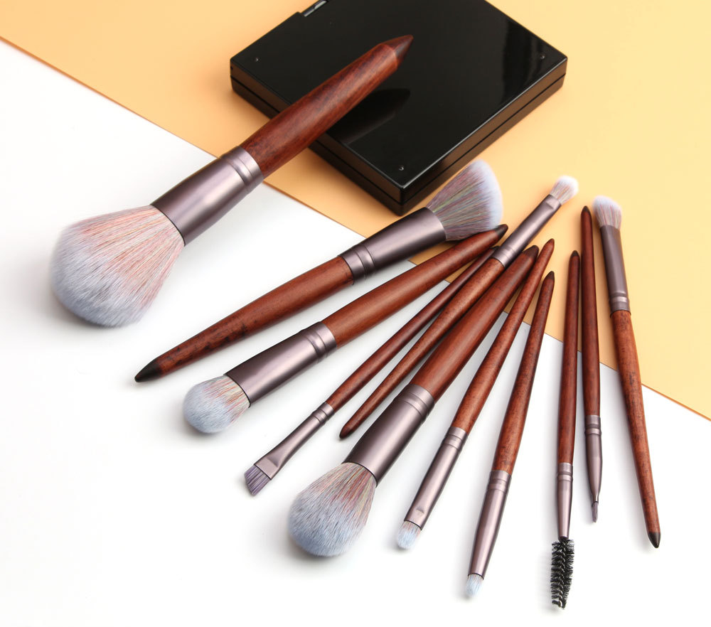 11 Piece Animal Hair Makeup Brush 4