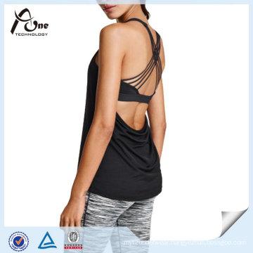 Sexy Back Women Gym Singlets with Inner Bra