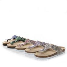 Fashion flat flip flops beach shoes slipper glitter sandal for women