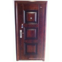 Panel de diseño de nogal color acero puerta de seguridad