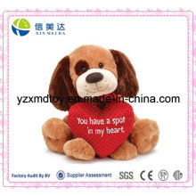 Plush Sitting Dog with Love Heart
