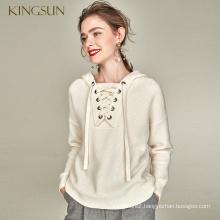 Lace Up Women Sweater 100% Merino Wool Pullvoer Hood