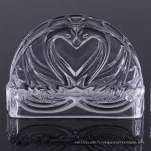 Unique Double Swan Design Porte-serviette en cristal