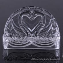 Unique Double Swan Design Crystal Glass Napkin Holder