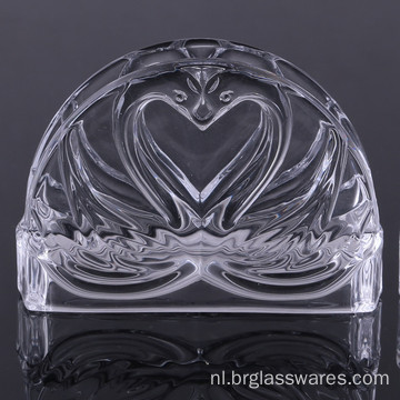 Uniek Double Swan Design Crystal Glass Servethouder