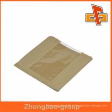 Baixo preço sacos de papel marrom atacado greaseproof execllent com janela