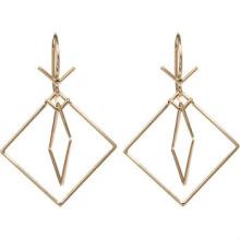 Pendientes de acero inoxidable Pendientes de doble cuadrado Pendientes de oro rosa para damas