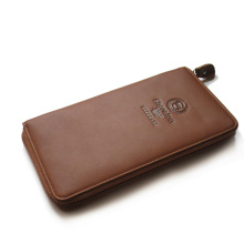 Fashion designer men leather wallet leisure style, zipper closure