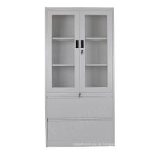 armário de aço do armazenamento do metal do escritório das portas de vidro dobro