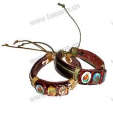 Leder Jesus Mode Armband, Leder Armband mit Saint Bilder