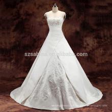 2017 tulle cap sleeve satin robe de mariée robe de mariée avec de vraies photos