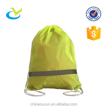 Factory direct sale reflective drawstring 190T polyester backpack bags with reflective tape