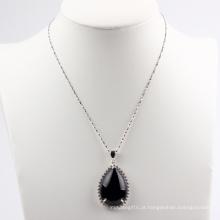 Pera forma preto ágata moda pingente / colar jóias